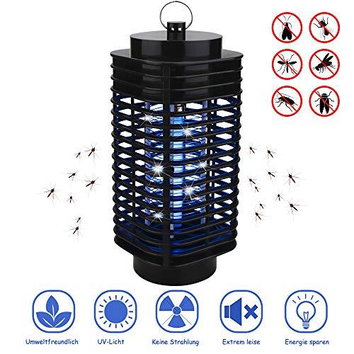 VEGKEY Insektenvernichter, Elektrischer Insektenvernichter UV LED Mückenvernichter Insektenfalle Mückenlampe Mückenschut Fluginsektenvernichter für Innen und Außeneinsatz (Schwarz)