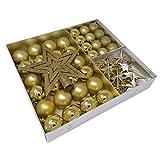 ToCi 45-teiliges Christbaumschmuck Set Baumschmuck Gold mit Weihnachtskugeln Christbaumspitze Sternen Perlenkette Weihnachten Deko Anhänger