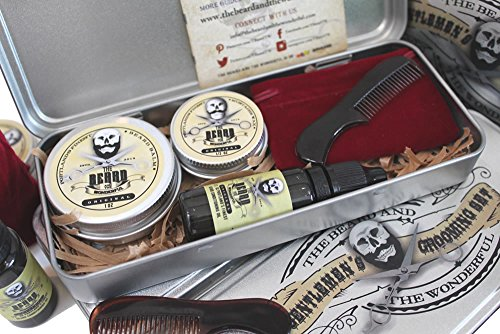 Mens Grooming Gift Box Kit, Traditional Beard Oil, Moustache Wax, Beard Taming Balm, Mini Comb packed in a nifty aluminium gift case. The perfect Present all Natural Low Scent & Unscented