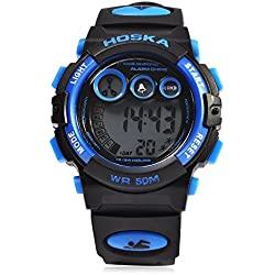 Leopard Shop HOSKA H002S Kid Sports Digital Watch with Day Chronograph LED Light Wristwatch Water Resistance Blue Black