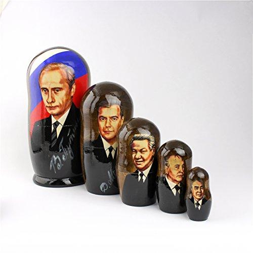 Galleria fotografica Heka Naturals Matryoshka Russian Nesting Dolls Putin Presidenti URSS russi Classic Babushka Fatti in Russia 5 pezzi 18 cm Regalo in legno