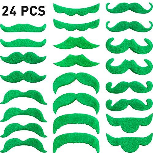 24 Stücke Gefälschte Schnurrbart St. Patrick's Tag Dekorationen Selbstklebenden Grün Schnurrbart Bart Kostüm Zubehör für St. Patrick's Tag Party ()