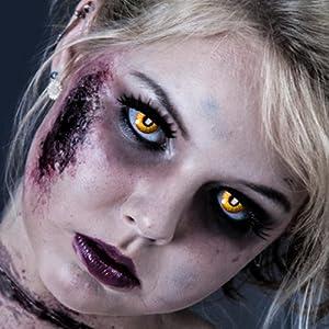 Farbige Kontaklinsen in ORK Rot Gelb für Zombie oder Vampir Kontaktlinse der Marke LEO EYES-Qualität zum kleinen Preis-ideal zu Halloween, Karneval, Fasching oder Fasnacht-ohne Stärke