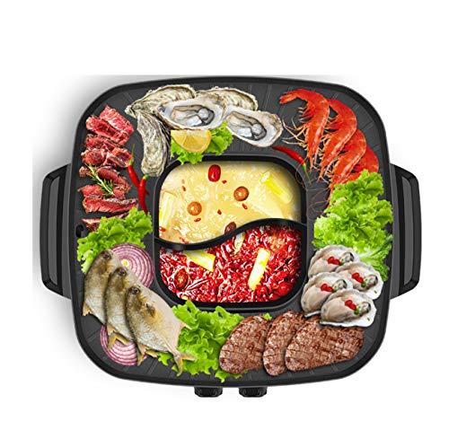 NANXCYR BBQ PotKoreanischer Stil BBQ Poke Hot Pot Dual Pot antistick powerful stovetop Grill Top Round Steak