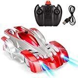 Leegoal Remote Control Car, Dual Mode 360° Rotating Stunt Wall Climbing Car With Remote Control, Head And Rear LED Lights, Intelligent Glowing USB Cable, Girl And Boy Gifts (Red)