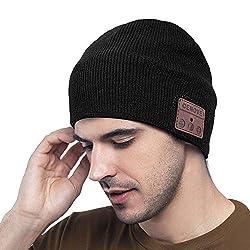 MEckily Bluetooth Mütze Männer Geschenke, Bluetooth 5.0 Drahtlose Beanie mit Abnehmbarem Eingebautem Mikrofon für Freisprechanruf, Skifahren, Laufen, Weihnachtseschenke