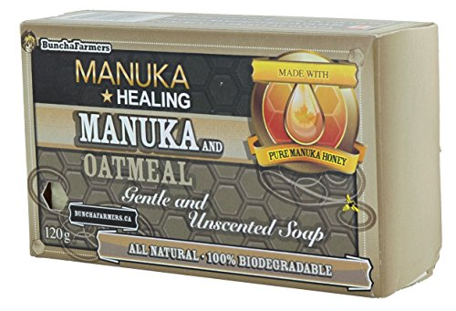 BunchaFarmers All Natural 100% Biodegradable Healing Manuka Honey and Oatmeal Gentle and Unscented Soap Bar (Made in Canada)