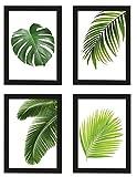 PICSonPAPER Poster 4er-Set BLÄTTER, gerahmt DIN A4, Dekoration für Wohn- und Arbeitsräume, Monstera, Palmen, Kunstdruck, Wandbild, Poster mit Rahmen, Geschenk (Mit IKEA Fiskbo Schwarz)