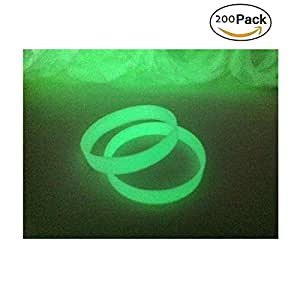 Green House 200 x Bracelets Silicone Lumineux Fluorescents Blank Wristband 202mm