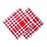 Lot de 2 serviettes de table carreaux normands - rouge 50x50cm