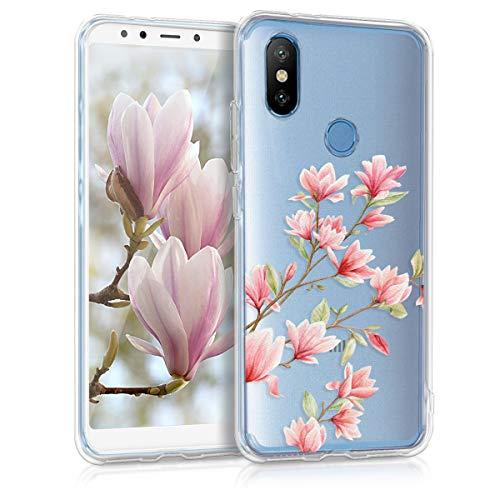 kwmobile Funda para Xiaomi Mi 6X / Mi A2 - Carcasa de TPU para móvil y diseño de Magnolias en Rosa Claro/Blanco/Transparente