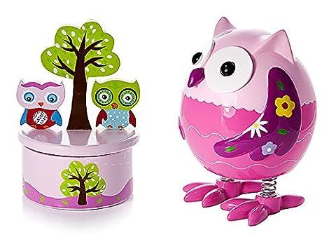 Tirelire et boîte à musique bébé ou enfants cadeau hibou chouette rose pour fille