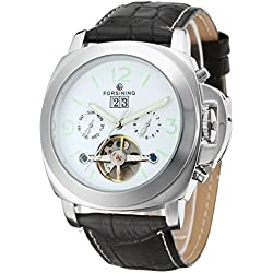 Forsining Men's Fantastic Automatic Day Calendar Leather Strap Wrist Watch FSG005M3S1