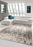 Merinos Orientteppich modern Wohnzimmerteppich Vintage Designteppich mit Fransen Beige Größe 80x150 cm