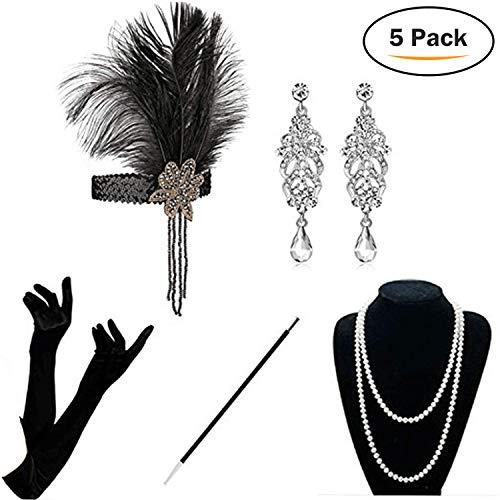 KQueenStar 1920er Jahre Zubehör Set Flapper Kostüm Accessoires für Damen 20s Gatsby Jahre Stirnband Kopfschmuck Ohrringe Perlen Halskette Handschuhe Zigarettenspitze (Black Set)