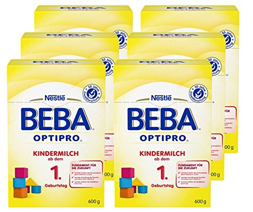 Nestlé BEBA OPTIPRO Kindermilch ab dem 1. Geburtstag, für eine altersgerechte Ernährung, Milchgetränk mit den Vitaminen A, C & D, 6er Pack (à 2 x 300 g)