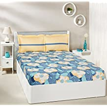 Amazon Brand - Solimo Floral Swirls 144 TC 100% Cotton Double Bedsheet with 2 Pillow Covers, Blue