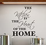Cols Decals UK THE KITCHEN IS THE HEART OF THE HOME vinyl wall art sticker decal, color: Black by Cols Decals UK