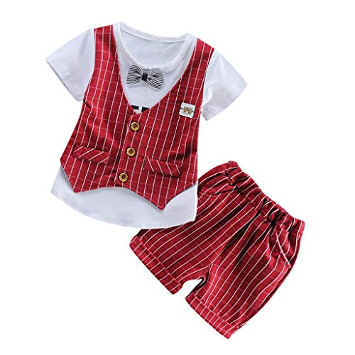 Cuteelf Nursery Time Baby Strampler Einteiler Junge Anzug Weste Fliege weiß grau kurzärmlig Kurze Hose Hemd -