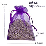 LAVODIA Bio Lavendel 12x Lavendelsäckchen mit getrockneten Lavendelblüten, Mottenschutz für Kleiderschrank oder Lavendelduft zum Entspannen, 12x10g Säckchen