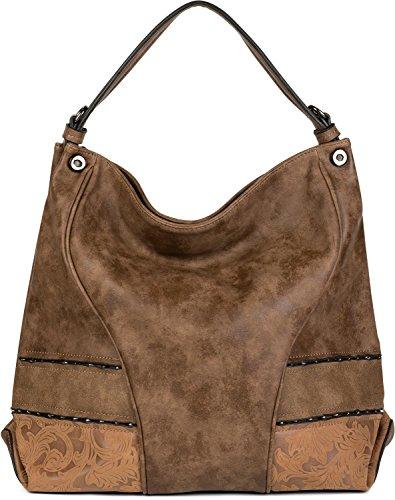styleBREAKER Shopper Tasche mit Nieten und weichem Ornament Muster, Schultertasche, Umhängetasche, Damen 02012197, Farbe::Braun (17 Shopper)