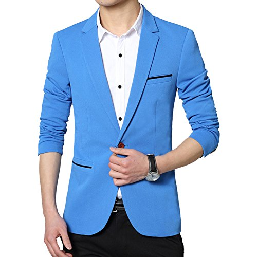MRSMR Hommes Casual Mince Fit Un Bouton Costume Blazer Manteau Vestes Solide Couleur Bleu Ciel