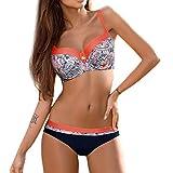 Jaminy Strandmode Bikini Set Frau Bikini Badeanzug Bikini Strandkleidung Bademode Badeanzug Bikini-Set Badeanzug (Orange, L)