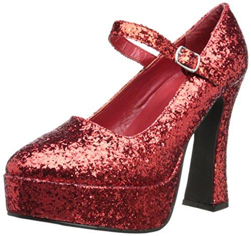 Donna bianco brevetto Mary Jane scarpe Red Glitter