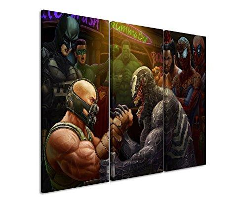 Lienzo 3piezas Super Heros _ Evil _ Good _ 3x 90x 40cm (total 120x 90cm) _ Acabado impresión artística Schöner auténtica Lienzo como Cuadro En Bastidor