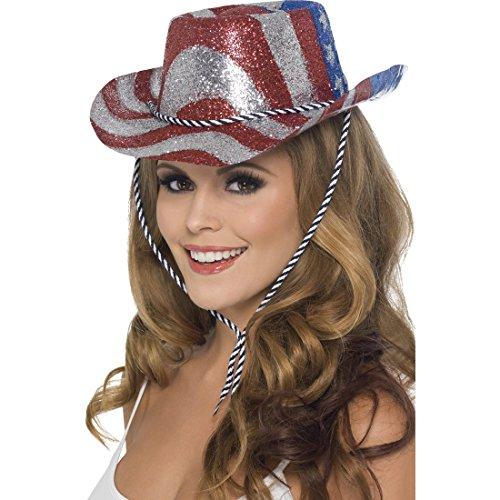 Glitzer Cowboyhut USA Westernhut Damen Cowgirl Glitzer Western Hut Stars and Stripes Showgirl Damenhut Cowboy Faschingshut