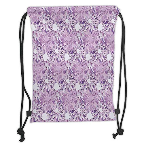 Drawstring Backpacks Bags,Mauve Decor,Digital Guiloche Fractal Crystal Stylized Floral Ornamental Retro Design,Lilac Lavender Soft Satin,5 Liter Capacity,Adjustable String Closure,