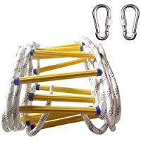 GQ Rope Ladder, 5-20 Meters Emergency Fire Escape Ladders - Soft Safety Ladder with Carabiners for Kids and Adults Escape from Window and Balcony,Professional Aids Rope