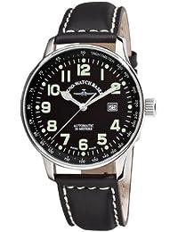 Zeno Watch Basel Pilot XL p554-a1 - Reloj de caballero automático, correa de piel color negro