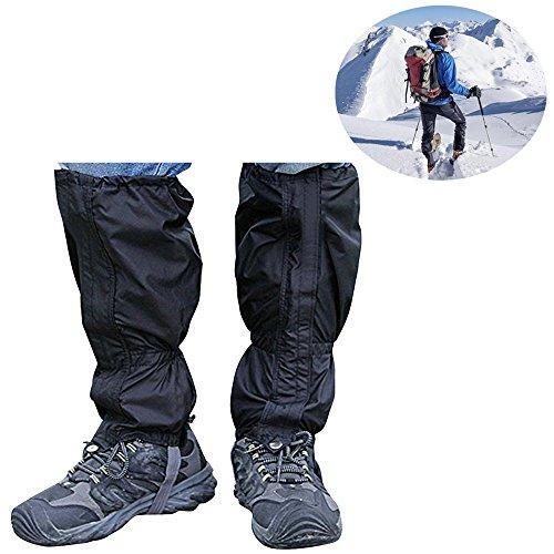 yihengya Yihya 1 Paar Unisex Outdoor Gamaschen Gaiter Wasserdicht Atmungsaktiv Bein Gamaschen Leggings Wrap für Outdoor-Hosen zum Wandern, Klettern und Schneewandern(Schwarz)