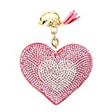 YUnnuopromi Damen Exquisite Liebe Herz Anhänger Strass Quaste Schlüsselanhänger Geschenk für Auto Tasche Ornament