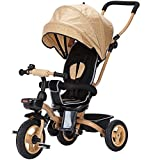 Dreirad Trike Kinder 3 Räder Kinder Dreirad Fahrrad 1-3 Jahre alt Faltbare Baby Trolley Kinderwagen Fahrrad ( Farbe : Tea color )