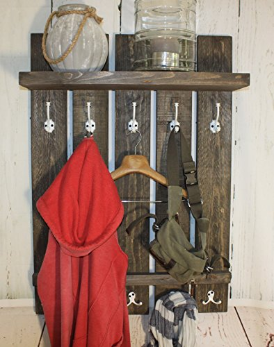 dekorie67 Holz Garderobe im Landhaus Stil braun Vintage Shabby fertig montiert