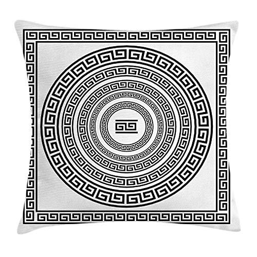 DDOBY Griechische Schlüssel Dekokissen Kissenbezug, traditionelle Meander Grenze Set mit Quadrat und Kreisen antiken ethnischen Rahmen Pack, dekorative quadratische Akzent Kissenbezug, schwarz weiß