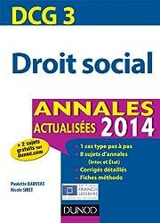 DCG 3 - Droit social 2014 - Annales actualisées - 5e édition