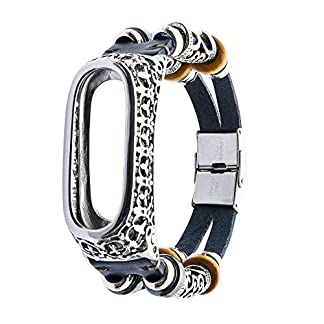 para Correa Xiaomi Mi Band 3 Bracelet,Gusspower 225mm Banda de Reloj de Retro Cuero Deportiva Pulsera Brazalete Ajustable Reemplazo Diseño único