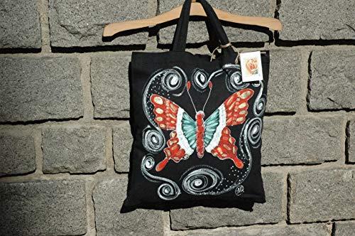 (Verkauf!!!20% reduziert,Handgemalte Schmetterling Einkaufstasche, Einkaufstasche, Schmetterling Canvas Tote, rote Schmetterling Tasche, Geschenk für sie, Baumwolle Einkaufstasche)