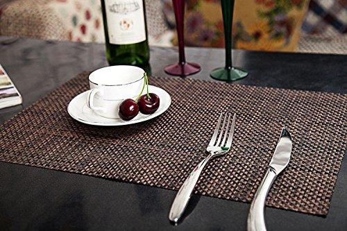 Grün Rustikalen Esstisch (Addfun®Tischsets, Prämie Waschbar Hoch Qualität Rutschfest Isolierung PVC Tischsets für Esstisch(Schwarz& Golden, 6er Set))