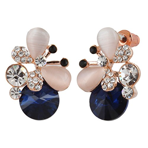 Snyter High Fashion Crystal Earrings for Girls - Fancy American Diamond Tops for Women - Partywear Imitation Jewelry - Blue