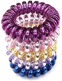 Fairytale Premium Quality Multi-Colour Glossy Silver Shiny Small Thick  Spiral Hair Rubber Band Ponytail 4c6bba05596
