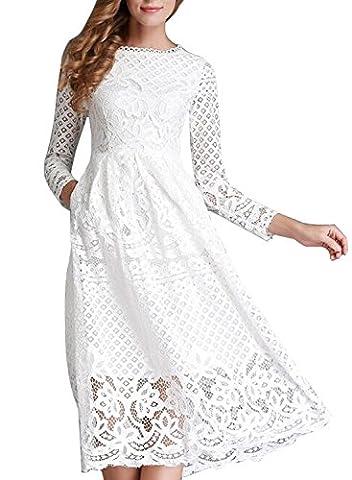 Minetom Damen Kleid Lange Ärmel Sommerkleid Spitze Elegant Abendkleid Partykleid Maxi Kleid Weiß DE