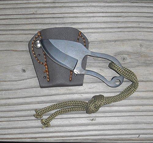 MilTec Fingermesser Neck Knife mit Lederscheide / Lederetui und Kordel , Mini Finger Paw PocketNeu !