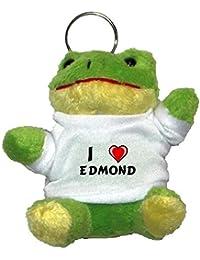 Rana de peluche (llavero) con Amo Edmond en la camiseta (nombre de pila/apellido/apodo)