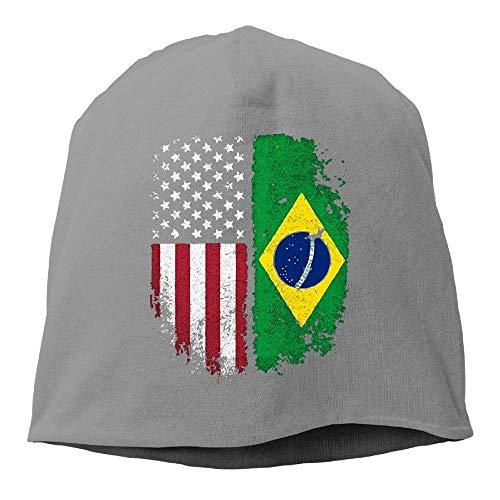 Zhgrong Caps Men's and Women's Plain Knitted Hat, Vintage Brazilian American Flag Beanie Hat for Mens & Womens Ball Cap (American Beanie Flag)