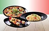 Luminarc 15888, Serie Italian Party black, Geschirrset Pizzateller 33cm 6 teilig
