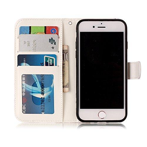 """MOONCASE iPhone 7 Handyhülle, [Colorful Relief Pattern] Stoßfest Ganzkörper Schutzhülle mit Ständer Leder Tasche Case für iPhone 7 4.7"""" Panda Panda"""